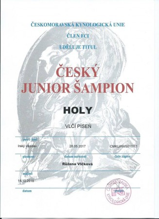 Holy Vlčí Píseň become Junior Czech Champion