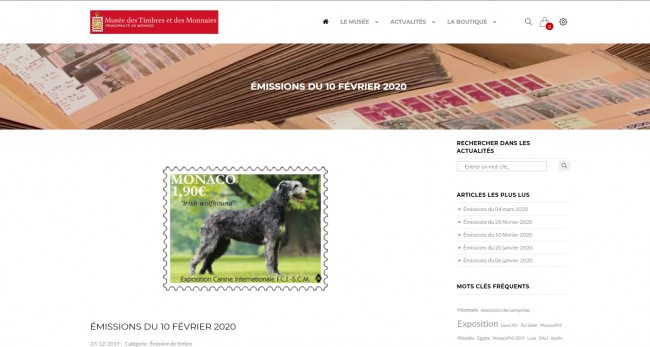 Official Monaco stamp with Irish Wolfhound 2020